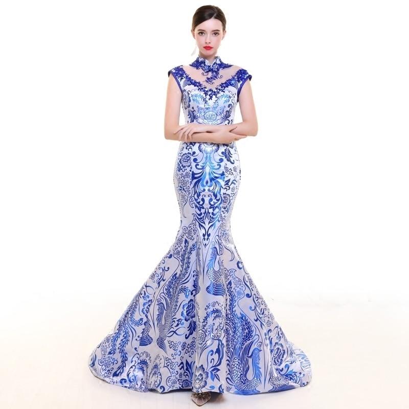 Embroidery Satin Cheongsam Modern Qipao Wedding China Evening Gown Chinese Traditional Dress Woman Banquet Vestido Long Qi Pao