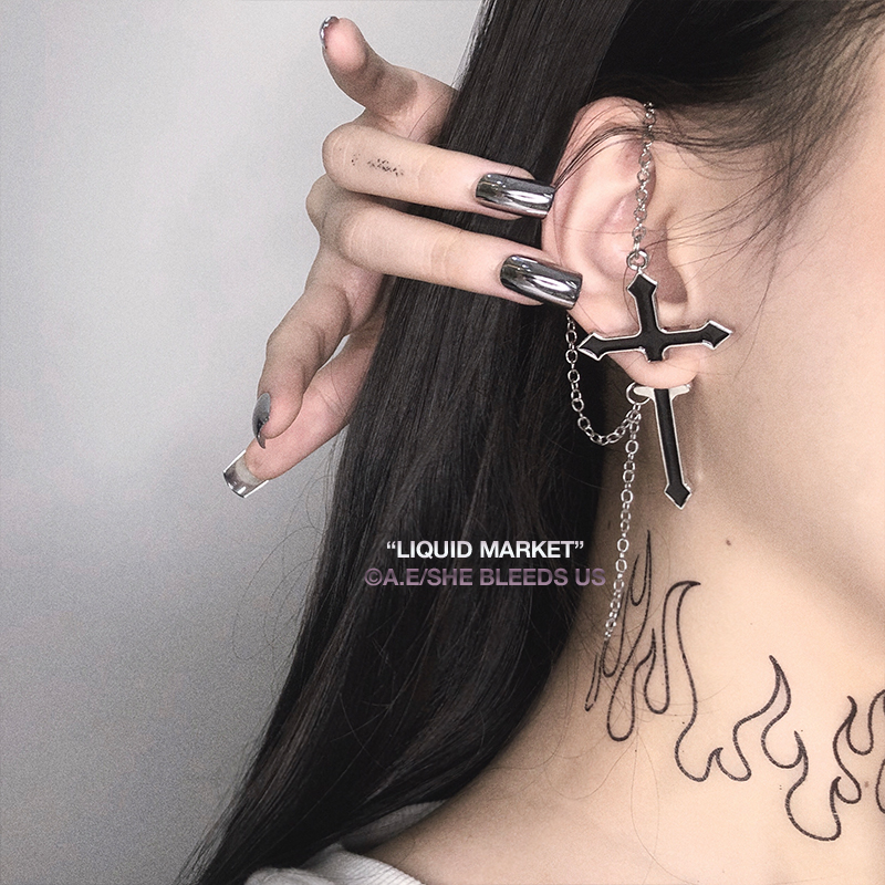 New Fashion Cool Gothic Exaggerated Punk Black Cross Metal Tassel Long Chain Drop Earring for Women Party Girls Gifts