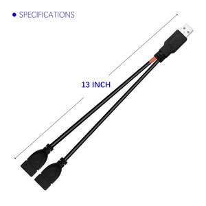 Image 4 - 20cm USB 2.0 A Male Plug to 2 Dual USB A Female Jack Y Splitter Hub Adapter Extension Cable
