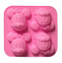 Manual DIY Silicone Soap Mold 4 Even Minnie Silicone Mold Mickey Mouse Silicone Moon Cake Mold Kitchen Baking Tools 6.2(China)