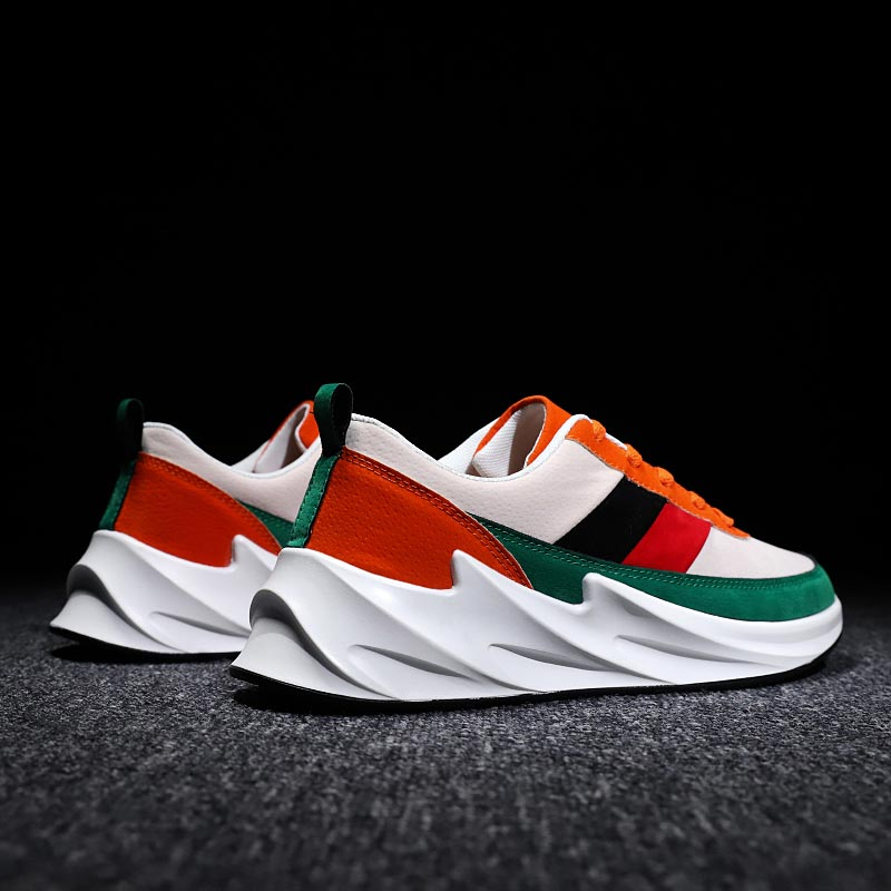 Height Increase Man Sport Shoes Men's Sports Shoes Tennis Male Running Shoes Men Sneakers PU Leather Tennis Athletic Green B-357