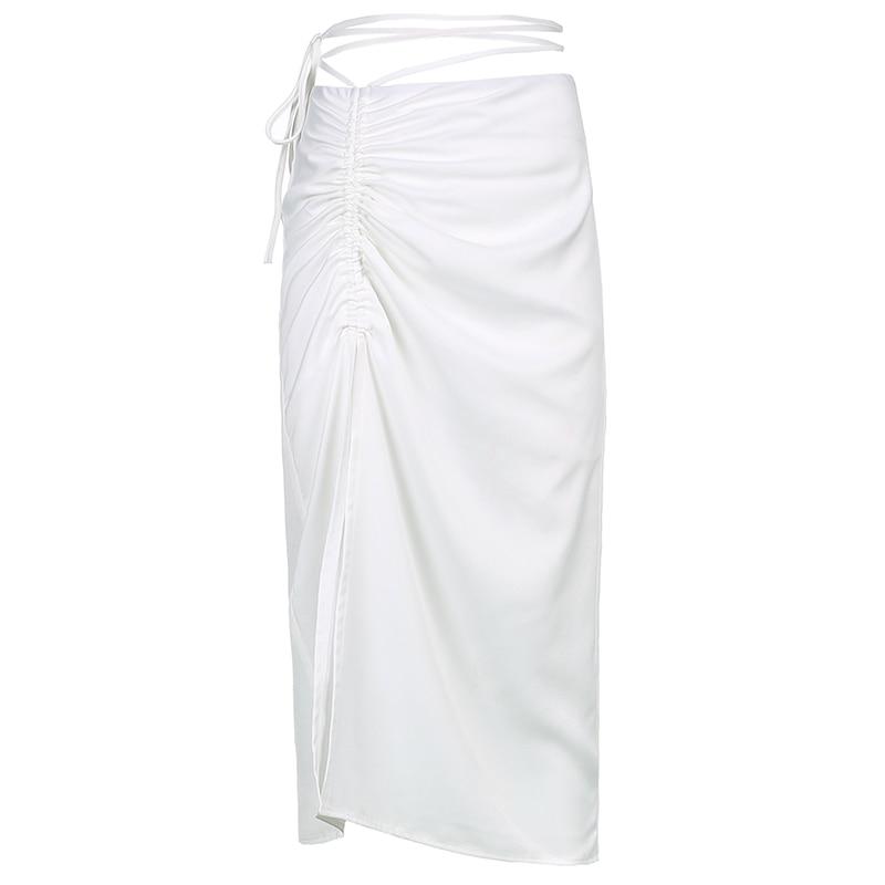 White Slim Bandage Hollow Out Dress Set MM1718