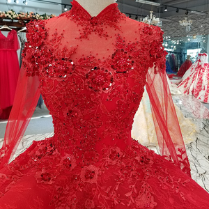Image 4 - LS0993 red high neck brides wedding party dresses long tulle sleeve lace up back beauty cheap evening dress real price as photos