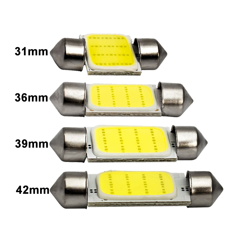 2x Car C5W LED COB Bulb Festoon 31mm 36mm 39mm 41mm 12V 6500K White C10W COB LED Interior Light Dome Reading License Plate Lamps