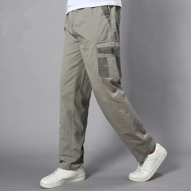 Plus Size Big Men Cargo Pants Casual Men Elastic Waist Multi Pocket Overall Cotton Pants Male Long Baggy Large Trouser 5XL 3