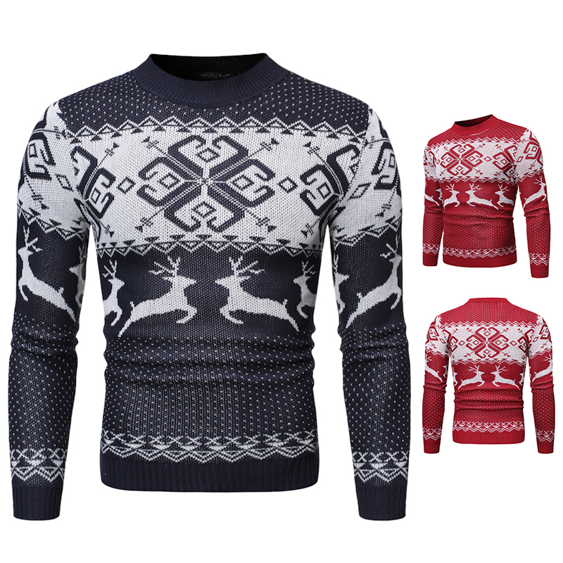 Winter Christmas Sweater Men Casual Roundneck Sweaters Deer Knitted Pullover Hip Hop Jumper Jersey Slim Fit Male Clothes