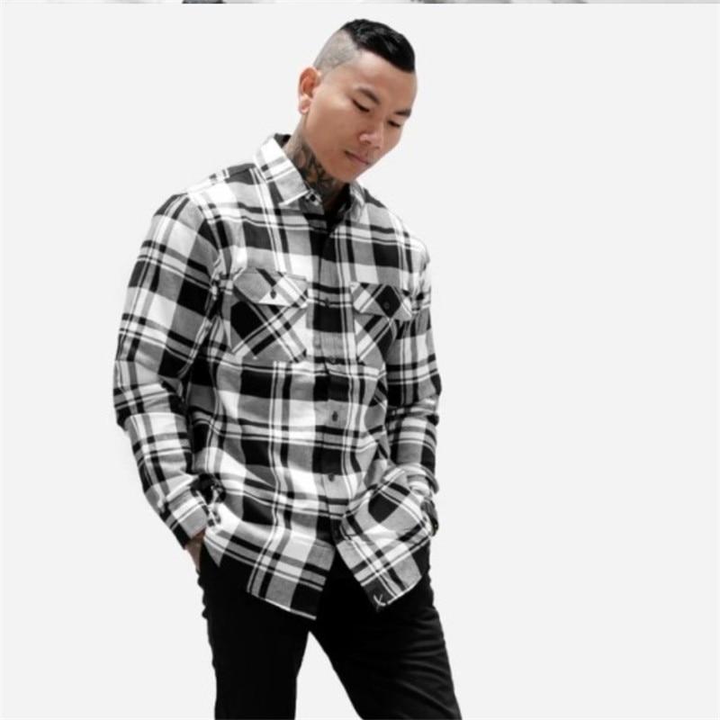 Мужская рубашка в клетку рубашка camicas Social Осенняя мужская модная клетчатая рубашка с длинными рукавами Мужская Повседневная рубашка в клетку на пуговицах - Цвет: Shirt 2