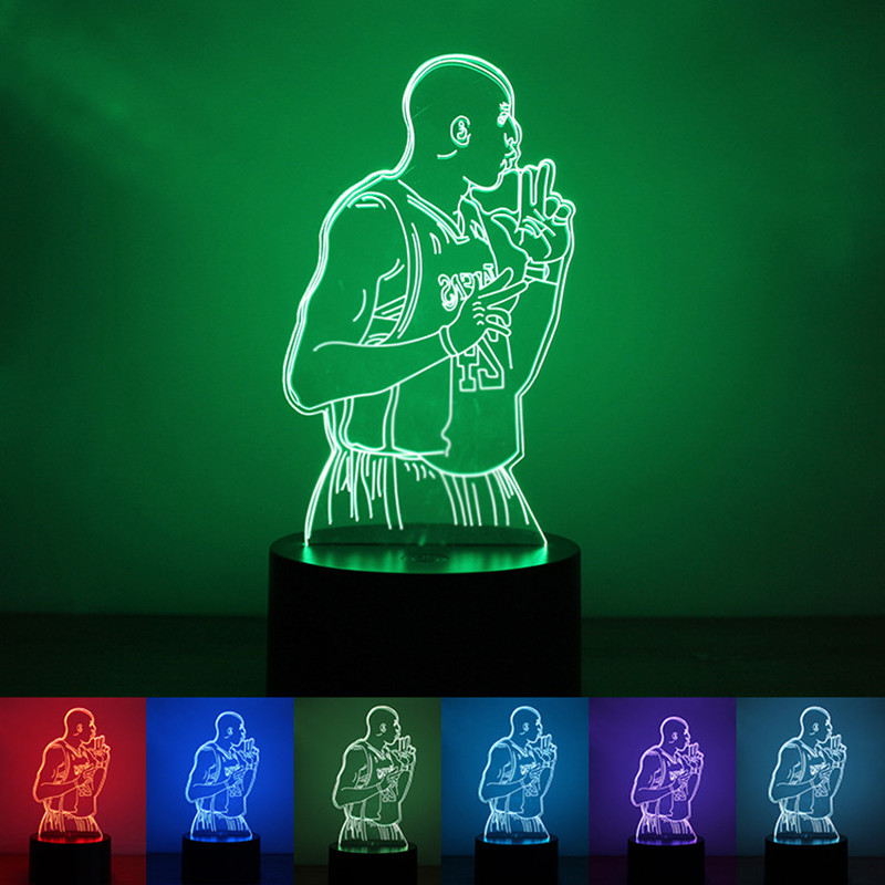 Basketball Lakers Kobe Bryant Jersey Figure 3D Night Light Memory Gift Fans Children Novelty Bedside Lamps Indoor Desk Lava Lamp
