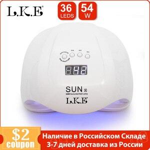 Image 1 - Светодиодная УФ лампа для ногтей LKE, 54 Вт, Сушилка для ногтей, УФ Гель лак для ногтей с кнопкой 30 с/60 с, таймер, 36 светодиодный, двойная лампа для маникюра и дизайна ногтей