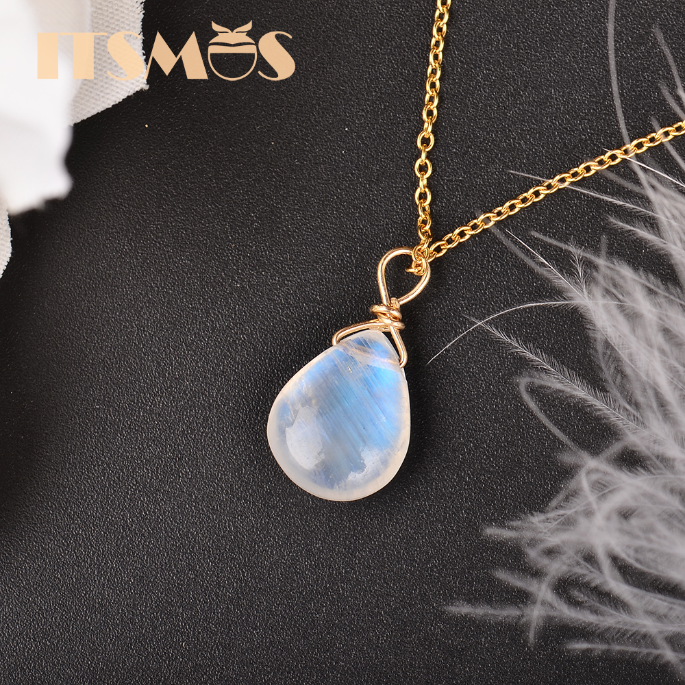 ITSMOS Natural Moonstone US 14k gold jewelry Chain Pendant Necklace Simple Elegant Jewelry for Women Romatic Gift(China)