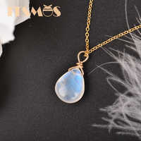 ITSMOS Natural Moonstone US 14k gold jewelry Chain Pendant Necklace Simple Elegant Jewelry for Women Romatic Gift