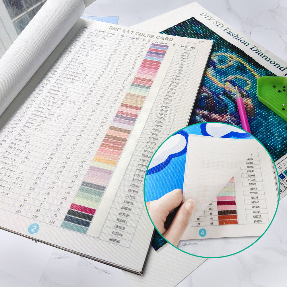 Diamond Painting Accessories tools Color Card Chart Booklet for Diamond Painting, Color Codes Diamond Art All Color Numbers