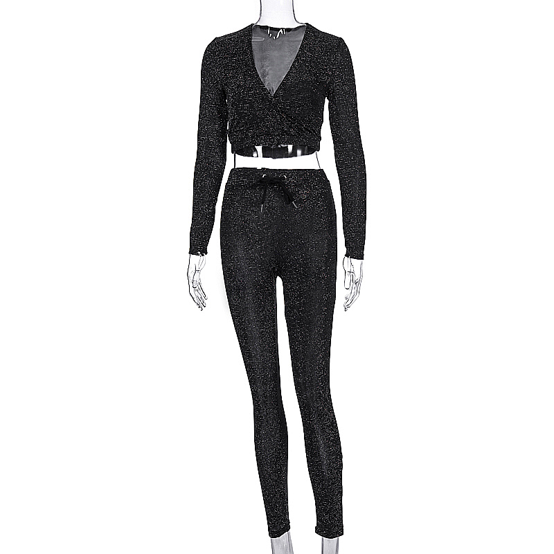 Image 5 - Hugcitar 2019 long sleeve V neck sexy crop tops pants 2 pieces set autumn winter women streetwear outfits shining tracksuitWomens Sets   -