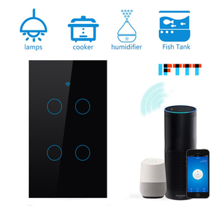 Image 2 - Wifiスマートライトスイッチガラススクリーンタッチパネル音声制御ワイヤレス壁スイッチリモートalexaとgoogleホーム1/2/3/4ギャング