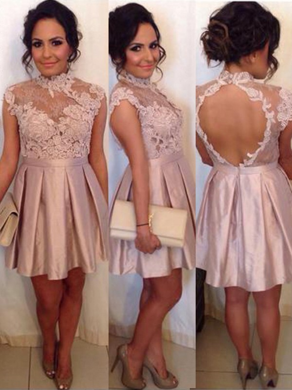 2020 Elegant Homecoming Dress A-Line/Princess Sleeveless High Neck Lace Satin Short/Mini Dresses For Party