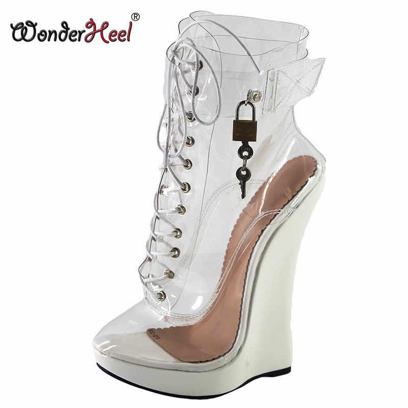 Wonderheel new clear PVC extreme high heel 18cm heel with 3cm platform wedge ankle boots locked padlocks women sexy boots