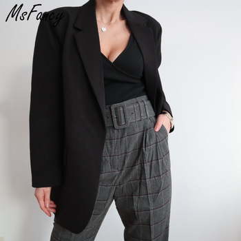 Msfancy Fashion Black Blazer Suits Women 2021 Plus Size Tailleur Femme Single Button Oversized Casual Jacket