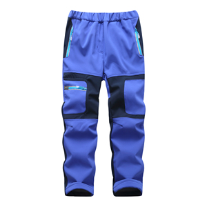 Image 4 - Brand Waterproof Boys Girls Pants Warm Trousers Sporty Climbing Trousers Children Patchwork Soft Shell Outfits For 105 160cm