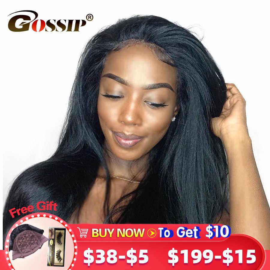 Perucas completas do cabelo humano do laço para as mulheres negras peruca reta malaia com o cabelo do bebê pré arrancado peruca de cabelo remy fofoca cabelo glueless