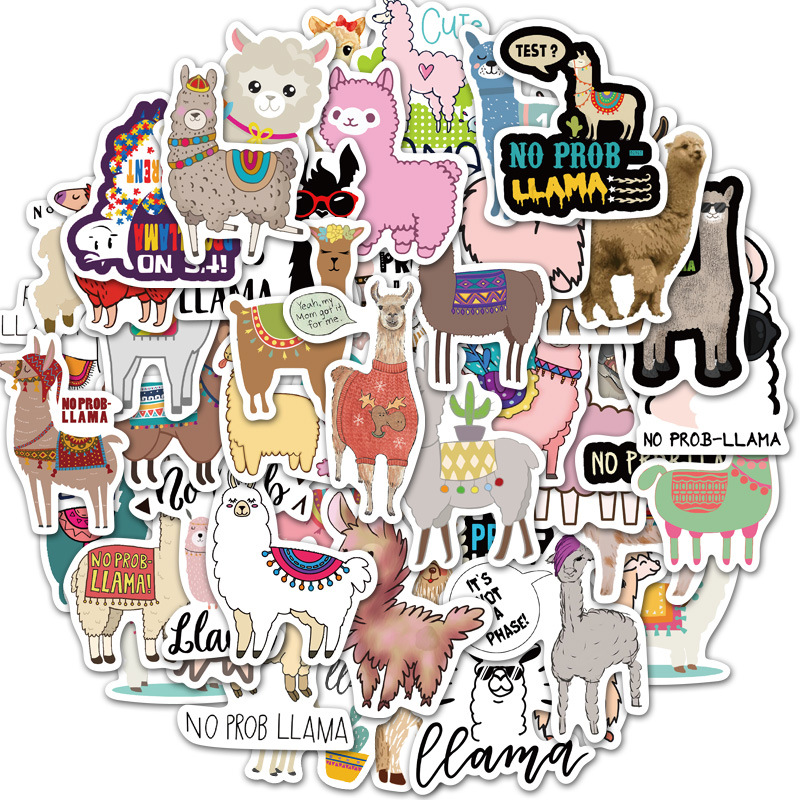 BH1014 Blinghero 50pcs/set Cartoon Alpaca Stickers DIY Bike Travel Luggage Phone Guitar Laptop Water
