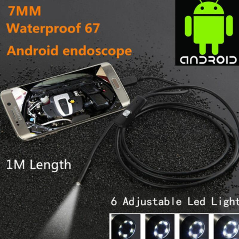 Black 6LED 1M 7mm Lens USB Endoscope Camera HD Waterproof Pipe Inspection Borescope For Android PC Phone And Notebook Device