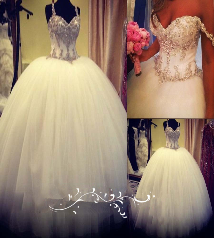 Real Sample Vestido De Csamento Sweetheart Spaghetti Straps Beading Crystals Lace Ball Bridal Gown Mother Of The Bride Dresses