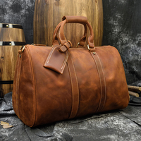Luufan Vintage Travel Bag Leather Weekend Bag For 17 Inch Laptop Shoulder Bag For Business Trip Cowskin Hand Luggage Retro Style