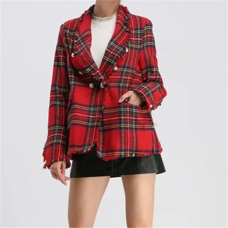 Tweed Blazer Women Vintage Red Plaid Blazers Coat Ladies Elegant Office Jacket Double Breasted Blazer Winter Fashion 2020