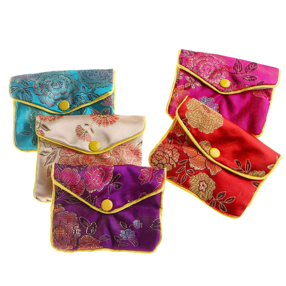 1 PC Fashion Rectangle Zipper Gift Bag Coin Purse Chinese Silk Brocade Handmade Jewelry Packing Necklace Earring Storage Pouch