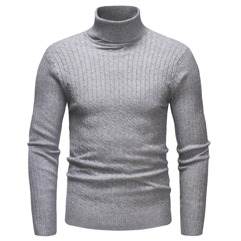 Brand Men Turtleneck Sweaters Winter New Mens Warm Fashion Slim Fit Pullovers Male Solid Color Long Sleeve Sweater Tops