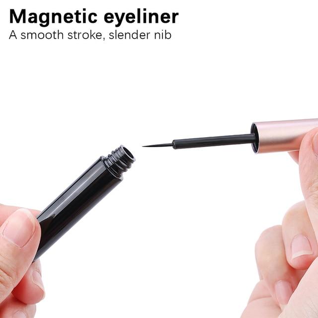 3Pairs of Glue-free Magnetic Eyelashes set Magnet Liquid Eyeliner Tweezer Set Waterproof Long Lasting Reusable Eyelash Extension 5