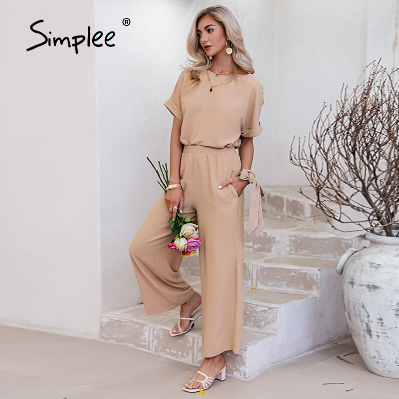 Simplee two-piece casual woman suits summer Sashe fashion long pants sets Solid t-shirt wide leg pants Pockets female loose suit