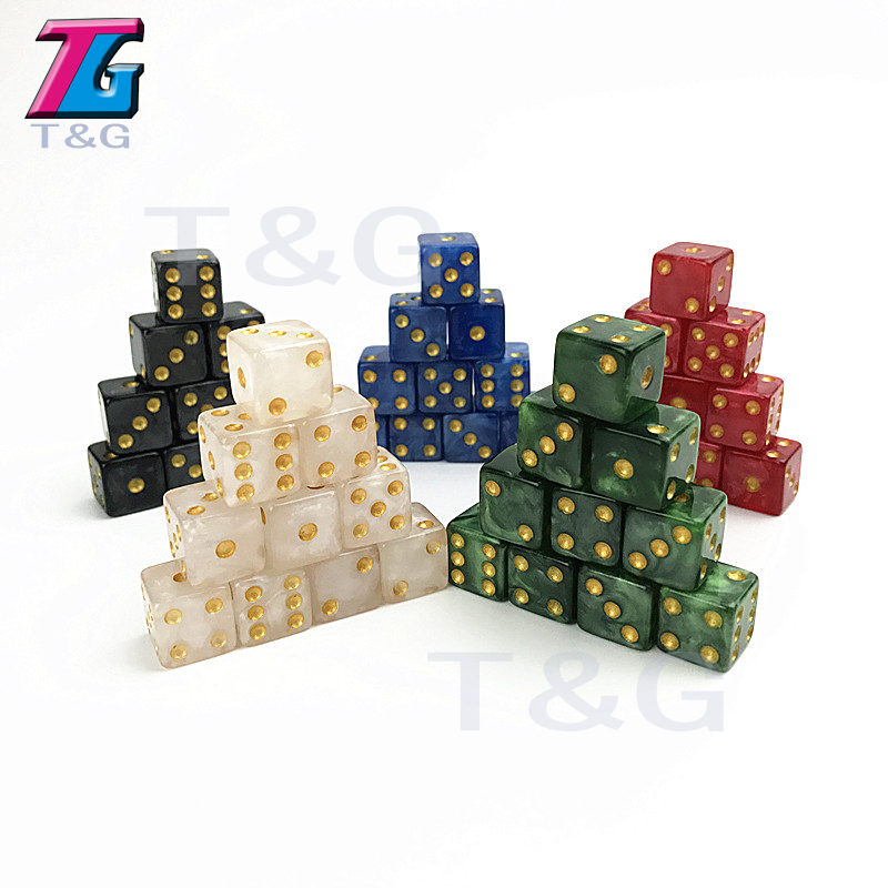 10PCS 12MM High Quality Dice D6 Gambling Marble Effect With Golden Dots Dice Game Accessories Toy And Gift