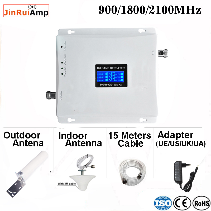 2g 3g 4g Gsm Repeater Tri Band Signal Booster 900 1800 2100 GSM WCDMA UMTS LTE Cellular Repeater 90018002100mhz Amplifier