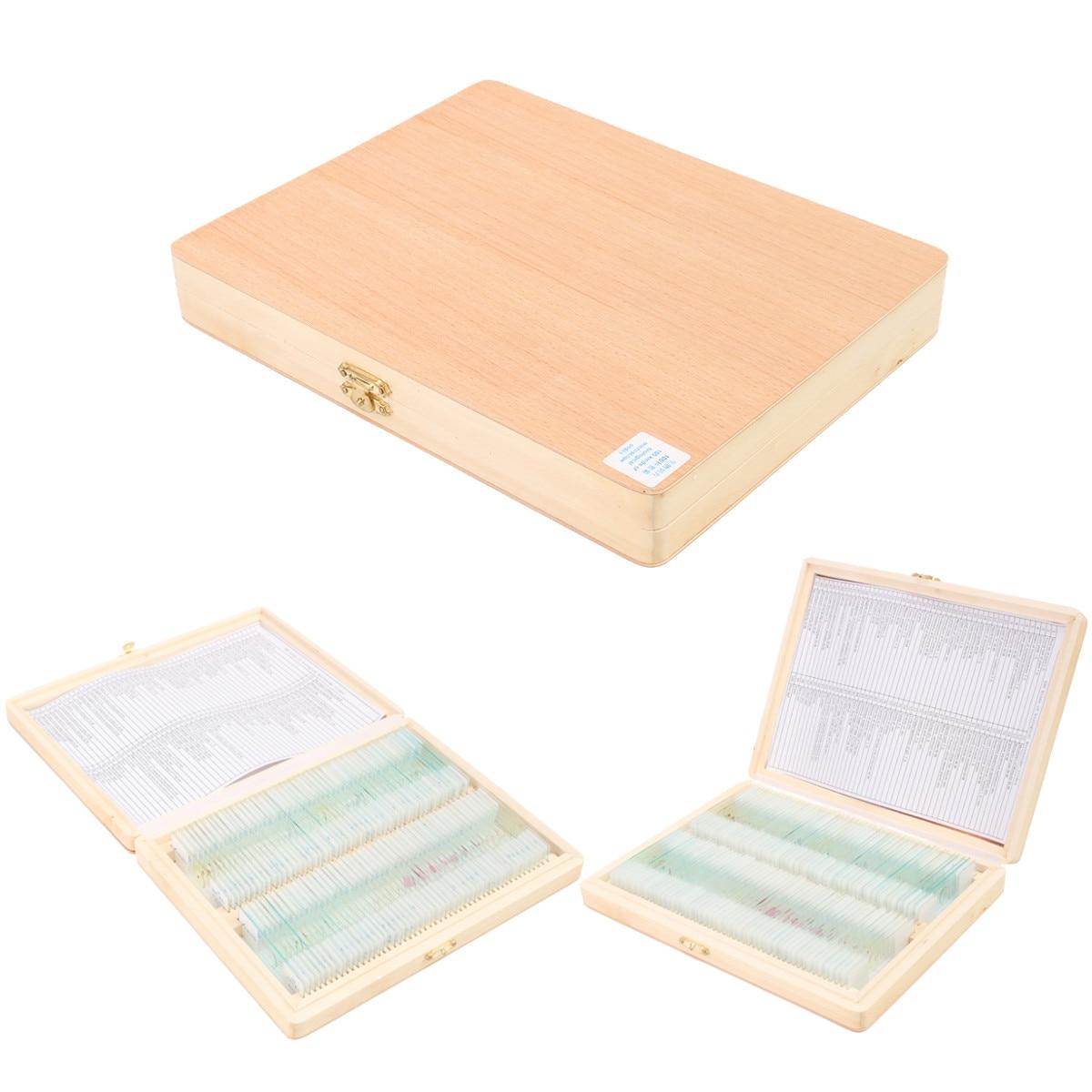 100Pcs Sample Specimen Basic Biological Glass Prepared Storage Set Slips Cover Microscope Wood Slides Science Box Portable Glass