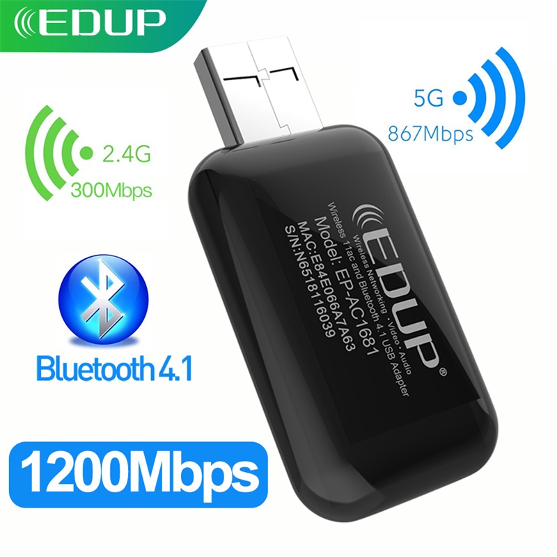 EDUP 1200Mbps USB WiFi Adapter Chipset RTL8822BU Bluetooth 4.1 Dual Band 2.4Ghz/5.8Ghz  USB WiFi Dongle For Desktop Laptop 1