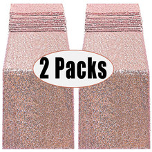 2 Packs 12 x 108inch Glitter Rose Gold Sequin Table Runner Birthday Wedding Engagement Bridal Shower Baby Shower Party Decor