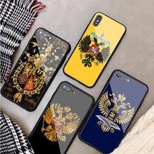Rússia bandeira brasão de braços luxo caso vidro temperado para iphone 11 12pro max x xs max 8 7 6 5 plus telefone capa traseira caso escudo