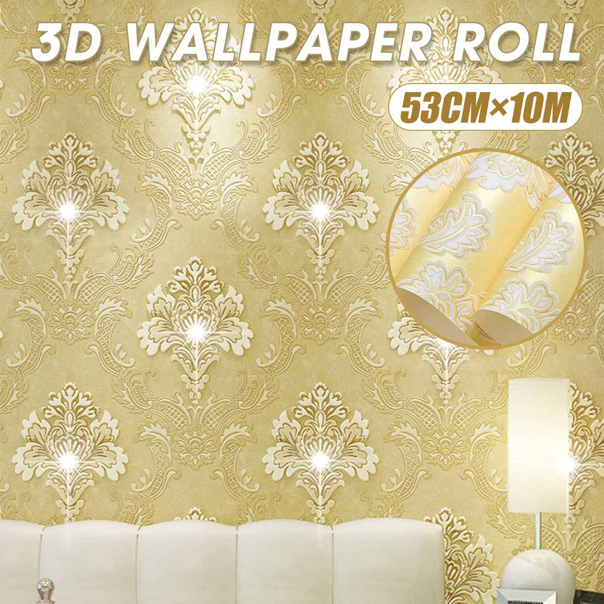 Gold 3d Victorian Damask Embossed Wallpaper Roll Home Decoration