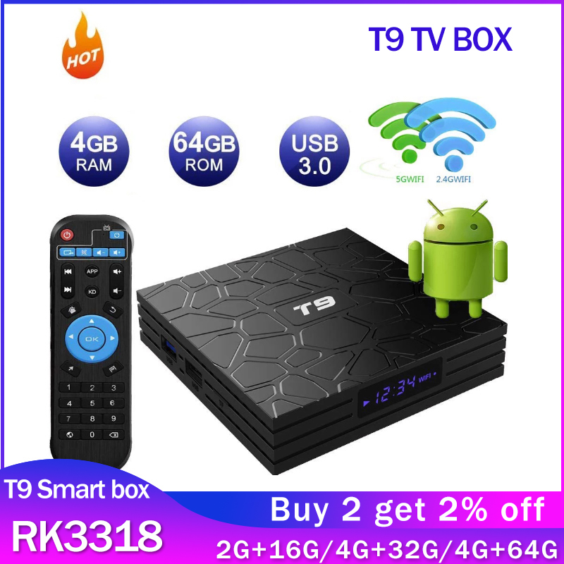 Смарт-T9 Android 9,0 ТВ коробка RK3318 4 ядра, 4 Гб Оперативная память 64 Гб Встроенная память 2,4 г/5G двойной WI-FI USB 3,0 4K, 2 Гб оперативной памяти, 16 Гб встрое...