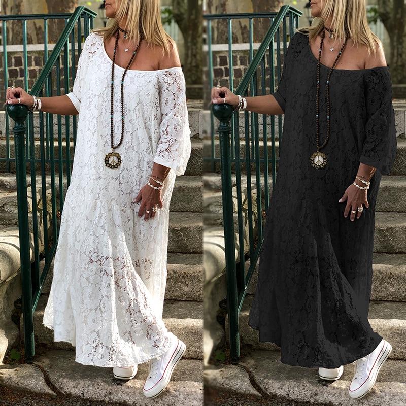 ZANZEA Women Lace Crochet Maxi Long Dress Summer O Neck 3/4 Sleeve Party Vestido Robe Femme Bohemian Sundress Casual Loose Dress
