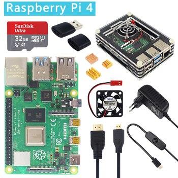 Raspberry Pi Modelo B 1 4/2/4 GB RAM BCM2711 Cortex-A72 BRAÇO v8 2.4/5G wiFi Bluetooh 5.0 Opção 32GB SD Card | Capa de silicone | Energia | HDMI