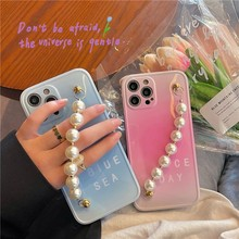 Gradient Pink And Blue Letters 3d Pearl Wristband Soft Case For Iphone 11 12 Pro Max Mini 7 8 Plus Xr X Xs Se Phone Cover Fundas