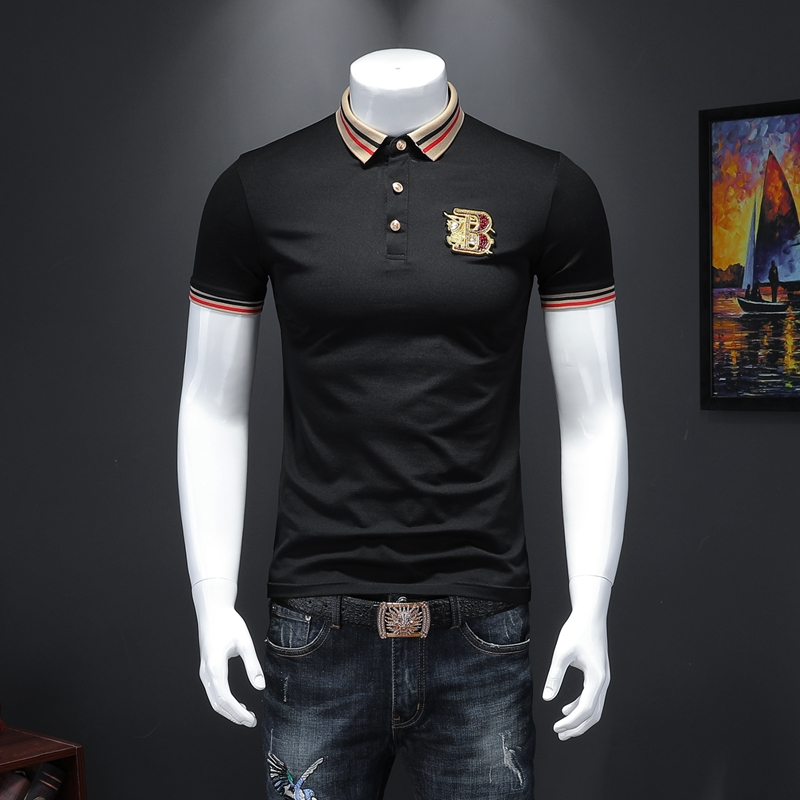 2020 Fashion Men's Polo Solid Slim Fit Turn-down Collar Cotton Polo Shirt Men Embroidery Boss Clothes