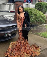 Sparkly Sequin Colorful African Mermaid Prom Dresses 2020 Plus Size Sexy Spaghetti Straps Junior Graduation Dress Long Train