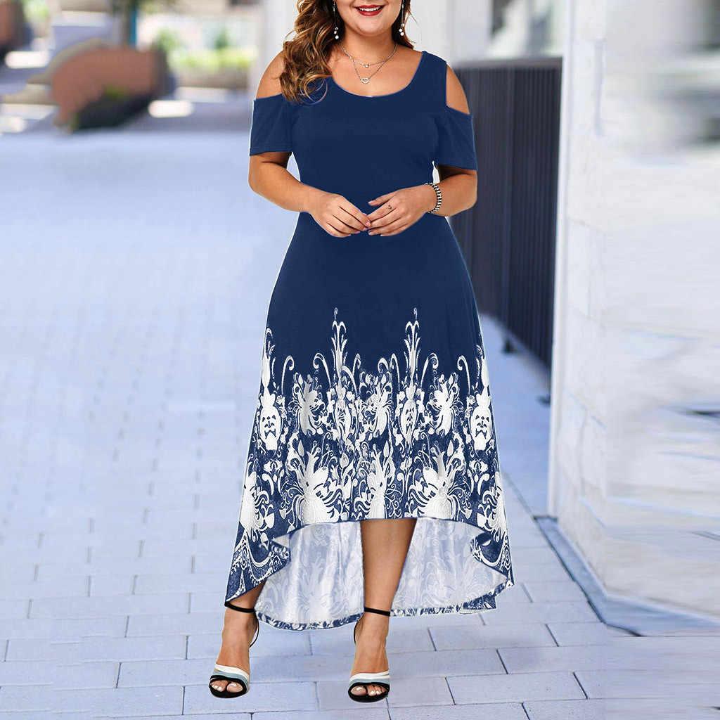 Avondfeest Zomer Plus Size Maxi Jurk Vrouwen 5XL 2020 Korte Mouw Bloemen Gedrukt Elegante Grote Jurk Voor Dames Vestidos