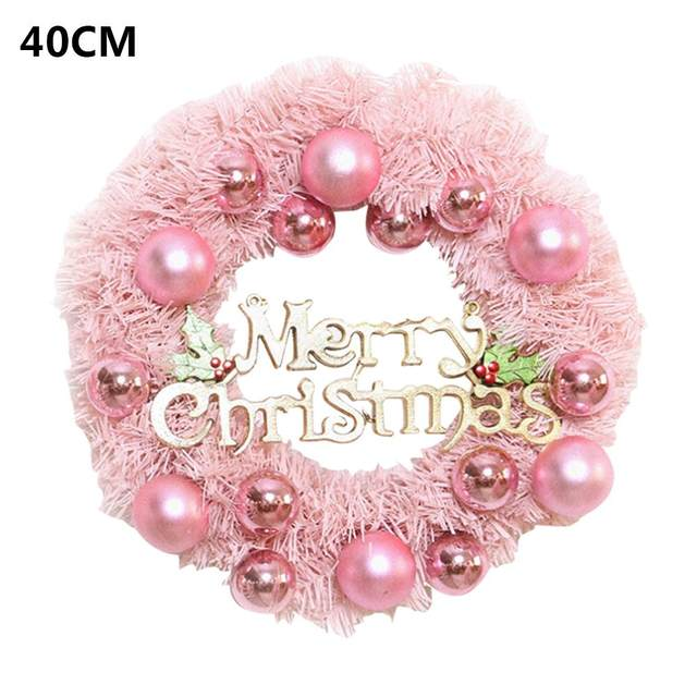 30/40cm Christmas Decoration Pink Christmas Wreath Rattan Ring Shopping Mall Window Scene Ornaments Artificial Christmas Wreath 19