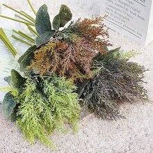 5 pçs/bundle cypress agulha greens plástico artesanal flores artificiais casa decoração do jardim flores falso grama pinho plantas