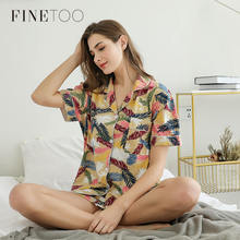 FINETOO Women Pajamas Set Cute Cartoon Print Sleepwear Set Plant Short Sleeve+Shorts Full Cotton Homewear Girl Trip Clothes 2020
