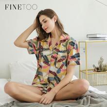 طقم بيجامات نسائي من FINETOO طقم ملابس نوم مطبوع عليها رسوم كرتونية لطيفة بأكمام قصيرة شورتات ملابس منزلية قطنية كاملة ملابس رحلة للبنات 2020